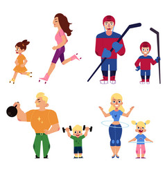 sport family set with parents and children engaged vector image