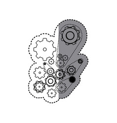 sticker silhouette set gear wheel icons vector image