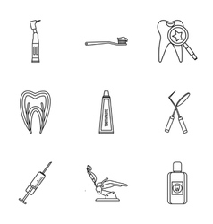 Stomatology icons set outline style vector