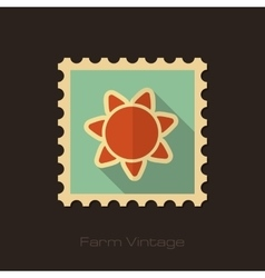Sun retro flat stamp with long shadow vector