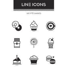 sweets - set line design style icons vector image