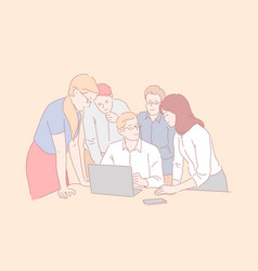 Teamwork coworking cooperation concept vector