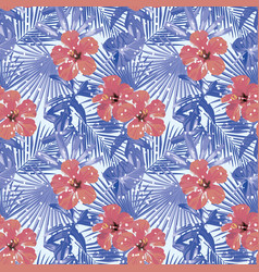 Tropical winter red hibiscus cold blue palm vector
