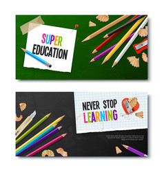 two realistic banners with colored pencils vector image