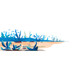 underwater bottom plants template background vector image