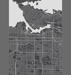 Vancouver city plan detailed map vector