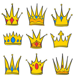 Various crown elegant style set collection vector