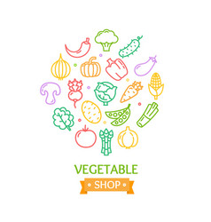vegetables food shop color round design template vector image