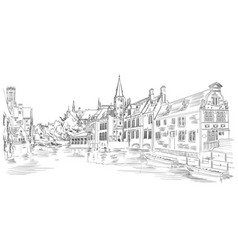 view on rozenhoedkaai water canal in bruges vector image