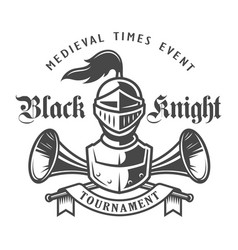 vintage monochrome knight logo vector image