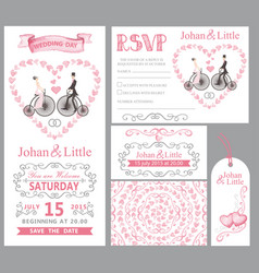 Wedding invitation setbridegroomretro bikepink vector