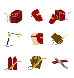 Welder Icons Set Flat vector image