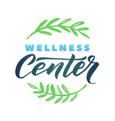 wellness center logo stroke green leaves vector image