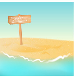 wooden sign board with phrase beach vector image