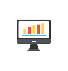 computer icon in the flat style the monitor chart vector image vector image