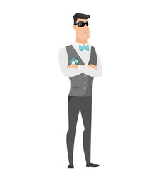 confident groom in sunglasses vector image vector image