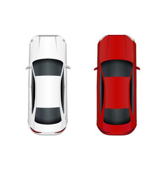 two cars white and red isolated on white vector image