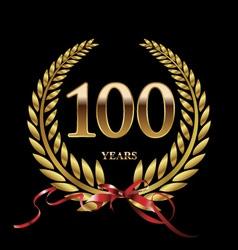 100 years anniversary laurel wreath vector image