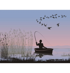 angler on a boat vector image vector image