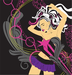 background nightclub with a girl vector image vector image