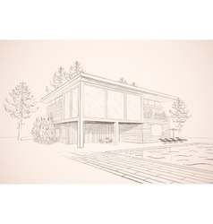 sepia sketch of house with swimming pool vector image vector image