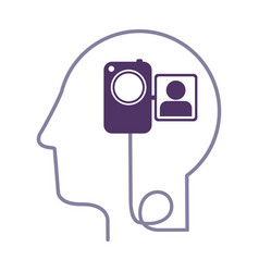 silhouette profile human head with video camera vector image
