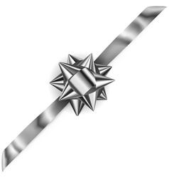 Beautiful silver shiny bow vector image vector image