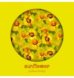 Floral sunflower and leafs circle design vector image vector image