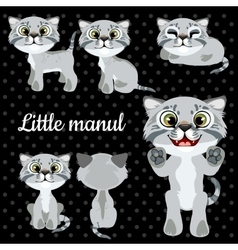 Set of emotions little cat on a black background vector image