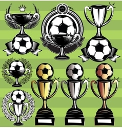 set of monochrome league icons with soccer vector image vector image