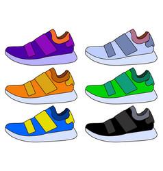 sneaker sport shoe color flat icon symbol set vector image vector image