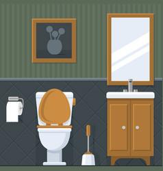 bathroom interior toilet in flat style vector image