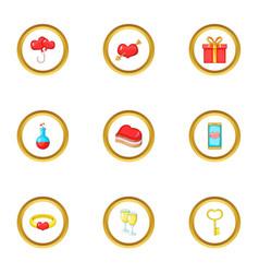 gift box icons set cartoon style vector image