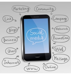 mobile phone with social media concept vector image vector image