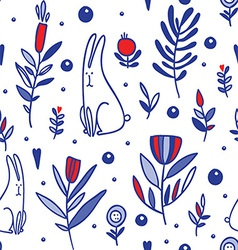 seamless with rabbits and flowers vector image vector image