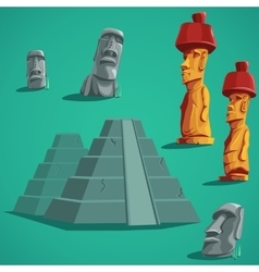Set isolated elements of stones statues pyramids vector image
