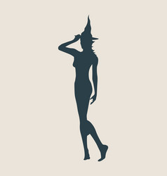 young witch icon witch silhouette vector image