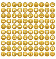 100 appliances icons set gold vector