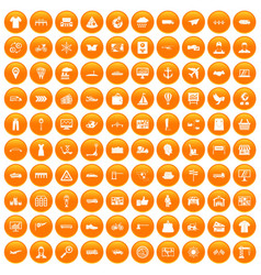 100 logistic and delivery icons set orange vector