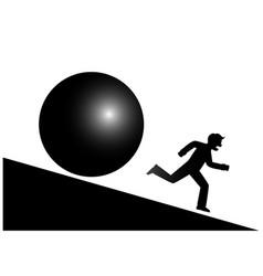 A man runs from a mountain from a threat vector