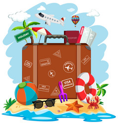 a suitcase in summer beach vector image