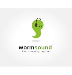 Abstract worm with headphone logo icon concept vector image