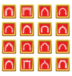 arch types icons set red square vector image