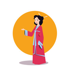 asian woman in japanese kimono beautiful geisha vector image