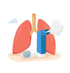 Asthma disease concept human lungs and inhaler vector