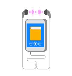 Audiobook on smartphone with earphone flat concept vector