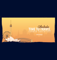 Australia banner time to travel journey trip vector