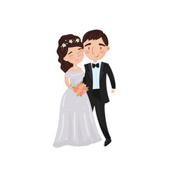 beautiful elegant wedding love couple embracing vector image