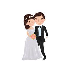 Beautiful elegant wedding love couple embracing vector