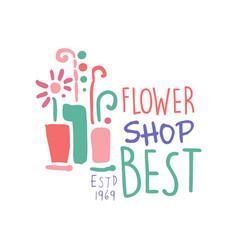 best flower shop logo estd 1969 element for vector image